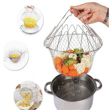 1 pc 2017 New Foldable Stainless Steel Net Multifunction Fry Steam Rinse Strain Magic Basket Kitchen Cooking Tool HG5939