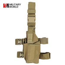 Airsoft Tactical Universal Pistol Drop Leg Holster For Left Hand Military Shooting Hunting Gun Bags Shotgun Flashlight Pouch(China)
