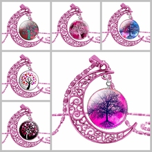 SUTEYI New Fashion Rose Red Moon Necklace Tree Of Life Art Picture Glass Pendant Necklace Tree Of Life Women Jewelry