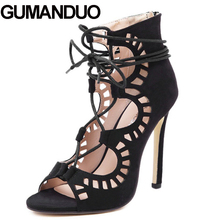 GUMANDUO Summer Roman Gladiator Carved Cut Out Open Toe Sandals Party Wedding Women Faux Suede Shoes Stiletto Pump High Heel(China)