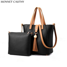 MONNET CAUTHY 2017 Newest Female Bags Solid Color Black Grey Khaki Wine Red Totes Concise Casual Fashion Office Ladies Handbags