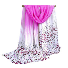 Any 3 pcs Shipping Free Women's Leopard Print Long Scarf shawl Chiffon Blue Purple Pink Yellow Size 155X50cm (5 colors) AW-XQ92