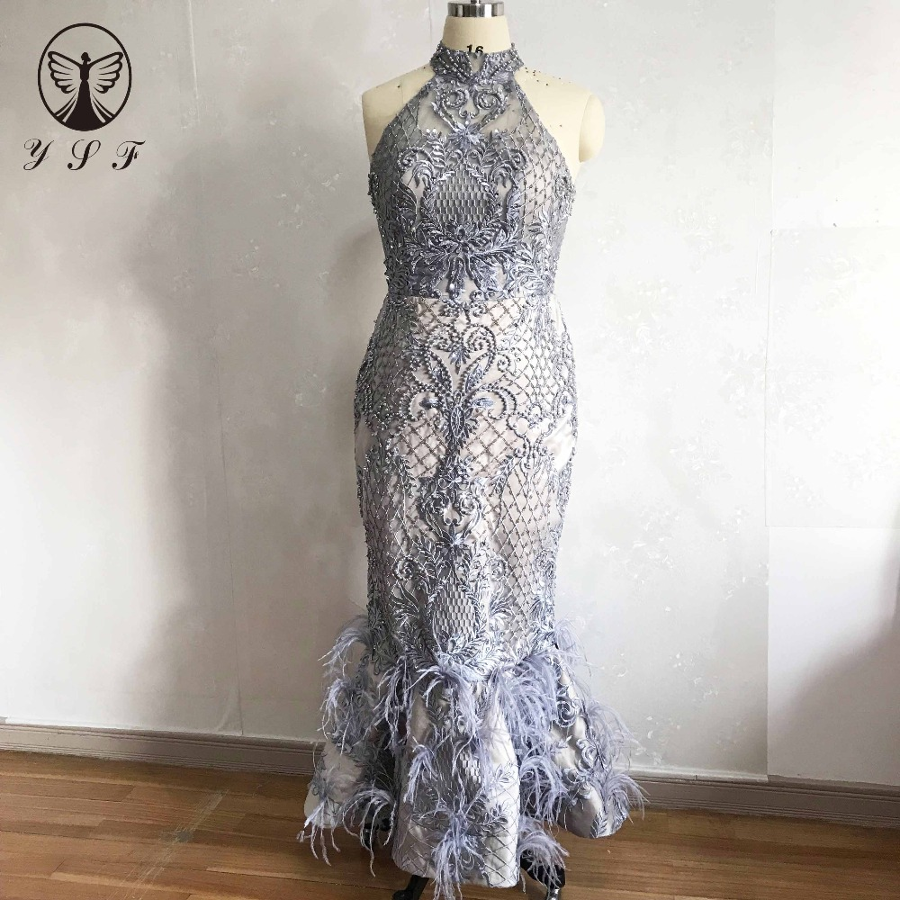 2019 Vintage Evening Dresses Silver High Collar Beaded Pearls Sleeveless Ankle Length Feather Mermaid Vestidos De Fiesta (China)
