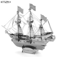 RAINBOX Finger Rock 3D Metal Puzzles Assemble Pirate Ship Golden Hind Model Toys New Year Gift WJ182