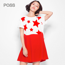 PASS 2017 New Arrival Women Star Print Dresses Summer Loose O-Neck Dresses