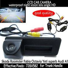 wireless HD ccd car trunk handle reverse parking rearview handle car camera for Skoda Roomster Fabia Octavia Yeti superb Audi A1