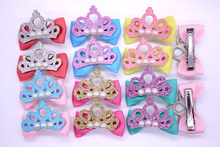 2pcs/1pair Mix Color Pet Dog Clip Crown Style Pet Dog Hair Bow Pet With Pearl Pet Dog Bows Grooming Accessories Free Shipping(China)
