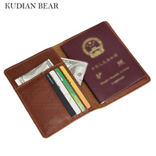 Buy KUDIAN BEAR 100% Cowhide Leather Passport Cover Rfid Passport Holder Designer Travel Cover Case Card Holder Wallet-- BIH041 PM49 for $11.93 in AliExpress store