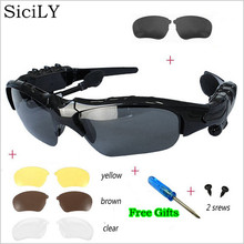 SiciLY Sport Stereo Wireless Bluetooth 4.0 Headset Telephone Driving Sunglasses/mp3 Riding Eyes Glasses With 3 colorful Sun lens(China)