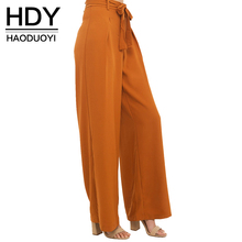 HDY Haoduoyi  Women Orange Wide Leg Chiffon Pants High Waist Tie Front Trousers Palazzo OL Elegant Pants Long Culottes Pants(China)
