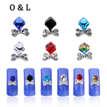 Glitter Glass Square Cube Beads Bows Crystal AB Rhinestone Nail Decorations 10pcs/lot 3d Nail Art Jewelry DIY Nail Accessories
