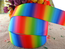 "17010123,New arrival 1"" (25mm) 10 yards/lot rainbow printed grosgrain ribbons cartoon ribbon DIY hair bows(China)"