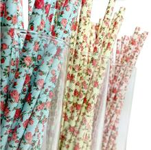 drinking paper straws rose flower 3 color option for Birthday Wedding Party Decoration gift craft DIY favor