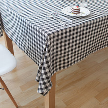 Home Tablecloth Black Lattice Pattern Classic Decorative Tablecloth For Wedding Signature Cotton Nappe Round Table Cloth