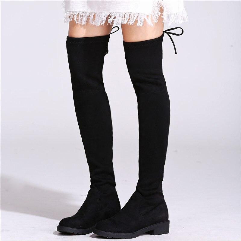 Autumn Winter Overknee Boots Women 2017 NEW Woman Flat Shoes Slim Elasticity thigh high Slip On Ladies boots knee high Black<br>