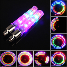 Sales NEW Colorful 5 LEDs Bicycle Wheels Light Warning Lamp With 4 Colors For Bike Motorcycle Or Automobile Valve Mouth(China)
