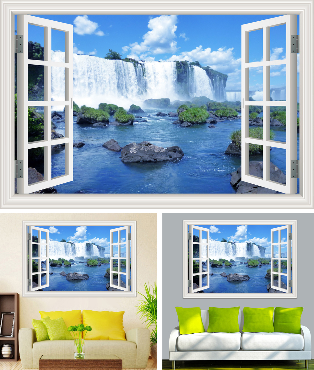 HTB1w8Tsb6gy uJjSZJnq6zuOXXas - Waterfall 3D Window View Wallpaper Nature Landscape Wall Decals for Living Room