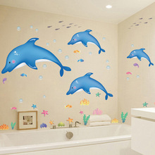 Brand New 2017 children room decorate Wall stickers Dolphins wall sticker Decal cartoon bedroom wallpaper DIY Kids Bathroom