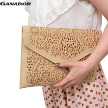 Ganador ladies day clutch women handbags pu leather bag envelop  hollow out clutch phone keepers shoulder bags bolsas DH0219