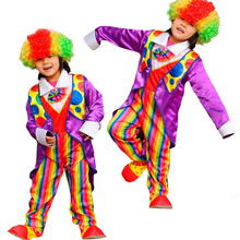 Colorful Kids Tuxedo Circus Clown Cosplay Costume For Children Stage Performance Clothing Set Halloween Party Supplies New Year