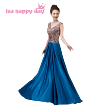 floor length v-neck bridesmaid dresses ladies dresse royal blue color long under $100 dress sexy for maid wedding guest H3627(China)