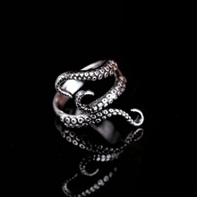 Octopus Ring Cool Top Quality Titanium Steel Gothic Deep Sea Squid Octopus Finger Ring Fashion Jewelry Opened Adjustable Size(China)