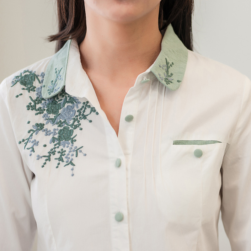 Floral Embroidery White Blouse 14