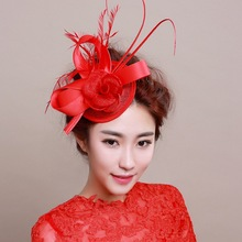 European Vintage Red Beige Linen Fascinator Feather Hat Wedding Bridal Sinamay Satin Flower Hair Clip Cocktail Hair Accessories