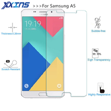 Tempered Glass For Samsung Glass Film Galaxy A3 A8 A9 A5 2017 A7 2016 J5 J7 mobile phone smartphone Screen protect film discount