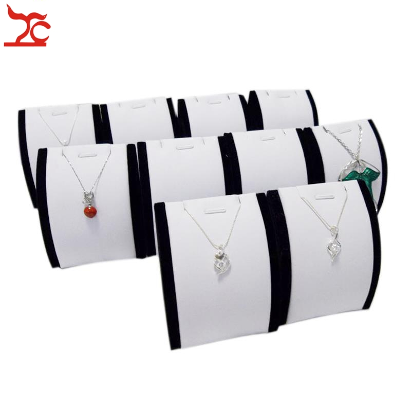 Wholesale 10Pcs Jewelry Display Rack Vertical White And Black Pendant Necklace Earring Holder Organizer Display Stand 7*4*8cm