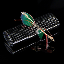 Women Fashion Reading Glasses Rhinestone Readers Eyewear Computer For Work Rimless Frame Gold Presbyopic Optical Eyeglasses 004(China)
