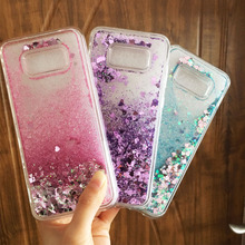 Liquid phone case sFor Funda Samsung S8 case For Coque Samsung galaxy S8 plus case Glitter Dynamic Sand Soft TPU Back cover(China)