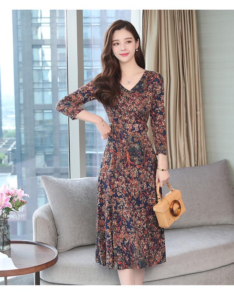 Autumn Winter New 3XL Plus Size Vintage Midi Dresses 2018 Women Elegant Bodycon Floral Dress Party Long Sleeve Runway Vestidos 38 Online shopping Bangladesh