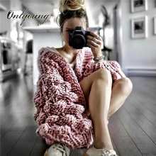 Onlyoung 2017 Autumn Winter Hand Knitted Cardigan Warm Thick Coat Casual Cute Tricot Pink Grey Women Sweater Jumper(China)