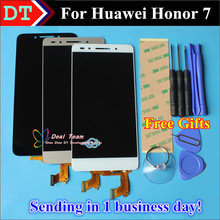 "High Quality Touch Screen Digitizer Touch Panel+ LCD Display For Huawei Honor 7 Cellphone 5.2"" Black White Gold Color Free Tools"