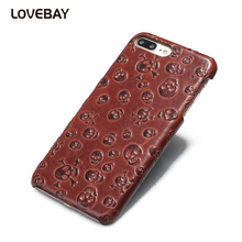Genuine Leather Phone Case For iPhone 6 6s 6s Plus 7 7 Plus Fashion Skull Leather Phone Case For iPhone 6 7 Plus Cover Bags Capa