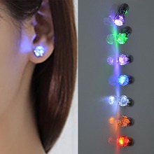 Crystal 1Pc LED Crown Earring Stud Flashing Light Christmas Halloween Party Disco Rave Novelty Lighting Glowing Light
