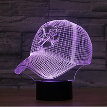 3D Light New York Yankees Baseball Team Cap Hat Nightlight Led Desk Table Lamp for Kids Sleeping Light Light Up Toy(China)