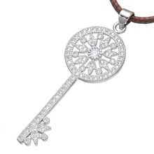 Ali Moda Gold/Silver/Rose Gold Micro Pave Zircon Indian Key Pendant with Macrame Leather Cord Link Chains Women Chocker Necklace