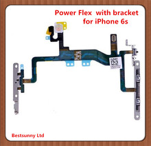 10pcs Power Flex Cable With Metal Bracket for iPhone 6S 4.7'' Mute Switch On Off  Volume Button flex Cable  brackets