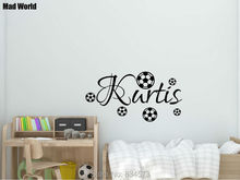 Mad World-Personalised Name Footballs Boy Wall Art Stickers Wall Decal Home DIY Decoration Removable Room Decor Wall Stickers