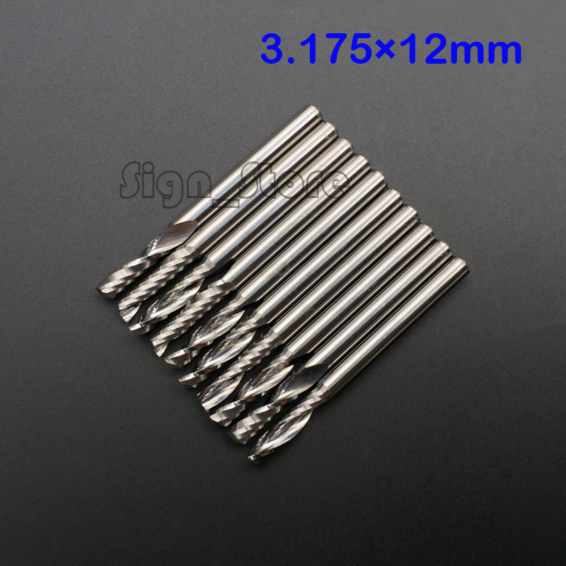 "10pcs 1/8"" High Quality Cnc Bits Single Flute Spiral Router Carbide End Mill Cutter Tools 3.175 x 12mm(China)"