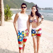 Wholesale new 2015 couple of men and women beach pants casual resort wear shorts swimsuit steel Toby Gini swimsuit(China)