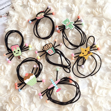 Girls spring hair accessories Cartoon Elastic hair bands with creative simulation accessories strong enough with 3 in 1 headwear