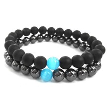 2016 Blue Cats Eye Nature Gunmetal Hematite Stone Men Hand Bracelet Black Matte Onyx Beaded Bracelets For Men Women Jewelry