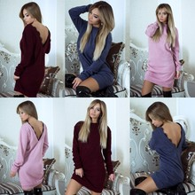 Pink Black Red Blue Bodycon Women Knitted Sweater Dress Sexy Back Deep V Neck Lace Crochet Dress Knitwear Winter Sweater Dress(China)