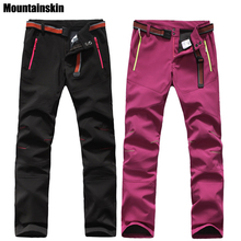 Mountainskin Men's Women's Winter Softshell Waterproof Fleece Pants Outdoor Sports Skiing Trekking Hiking Camping Trousers VA101(China)