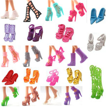 NK 22 Pairs/Set Doll Shoes Fashion Cute Colorful Assorted shoes for Barbie Doll with Different styles High Quality Baby Toy(China)