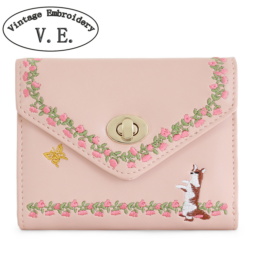 Vintage Embroidery Women Day Clutch New Butterfly Pink Floral Lock Card Lady Animal Prints Mori Girl Leather PU Envelope Wallet<br><br>Aliexpress