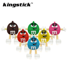 Best selling Cute Cartoon 32gb 64gb USB Flash Drive M&m's Chocolate M Bean Pendrive 128gb 8gb 16gb Memory Stick Pen drive U Disk(China)